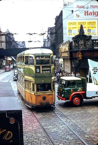 Transport in Glasgow - Route 9, June 1962, shortly before the end of Glasgow Corporation Tramways services in Glasgow in September