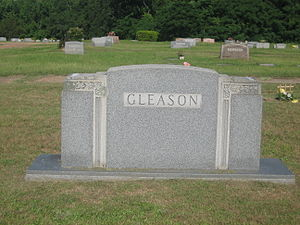 E. D. Gleason - Family tombstone of State Representatives E.D. Gleason and his wife and successor, Mary Smith Gleason, at the Minden Cemetery; Gleason's individual marker is too eroded to photograph.