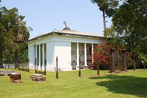 Glover Mausoleum - The mausoleum and Tombigbee River in 2011