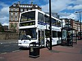 Go North East 3867 Dennis Trident East Lancs Lolyne W177 SCU DFDS ferry bus livery in Newcastle 9 May 2009 pic 2.jpg