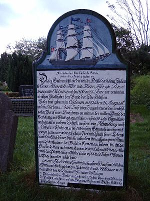 Talking Gravestones of Föhr - The tombstone of a husband and wife in the cemetery of Süderende