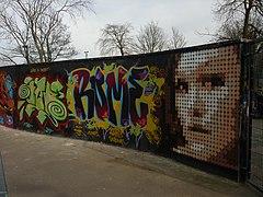 Graffiti wall, Alexandra Park skatepark, North London - geograph.org.uk - 1734122.jpg