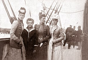 Grand Duchess Xenia Alexandrovna of Russia - Grand Duchess Xenia (right), with her brother Michael Alexandrovich and cousins, Victoria and Louise, daughters of Edward VII.