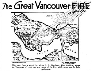 Great Vancouver Fire - Map showing the course of the fire.