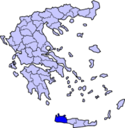 Położenie prefektury Chania na tle mapy Grecji