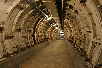 Greenwich foot tunnel - The section of the tunnel that was repaired following damage during World War II
