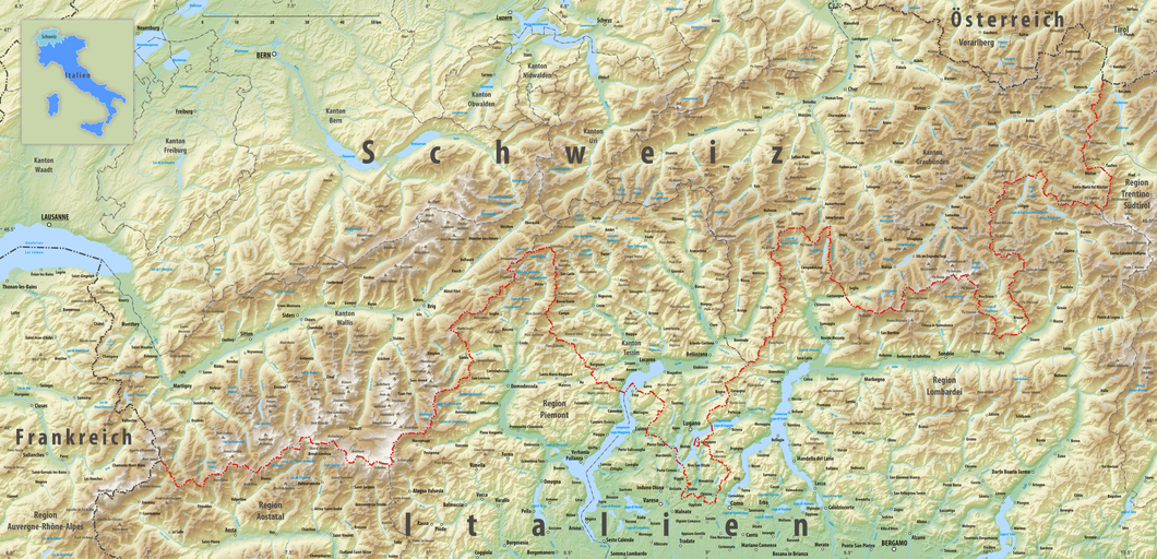 Karte Norditalien |