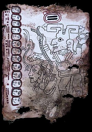 Grolier Codex - The deity depicted on page 9 of the Grolier Codex was unknown at the time the codex was discovered, but similar depictions were later found at two Maya sites in Mexico.