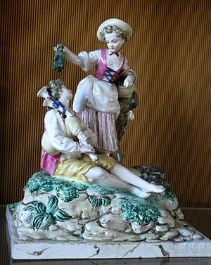 Lunéville - Lunéville faience was made famous for its widely copied collectable figurines mostly designed by Paul-Louis Cyfflé. This group is from 1770-1780, Sèvres museum collection.