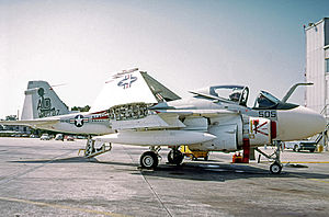VA-42 (U.S. Navy) - Grumman A-6E Intruder of VA-42 in 1973 wearing the Green Pawns symbol on its fin