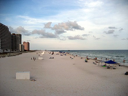 Alabama's beaches are one of the state's major tourist destinations. GulfShoresAlBeachJuly08B.jpg