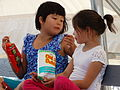 Gwich'in Girls with Snack - Midway Lake Music Festival - Near Fort McPherson - Northwest Territories - Canada.jpg