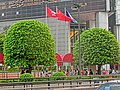 HK Central 金鐘道 Queensway 香港中銀大廈 Bank of China Tower Cotton Tree Drive flagpoles n trees Oct-2013.JPG