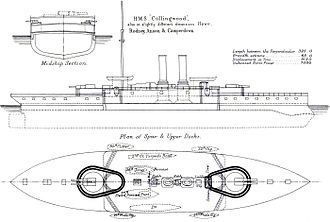 HMS Collingwood (1882) - Right elevation, deck plan and cross-section from Brassey's Naval Annual, 1888