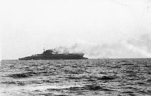 HMS Courageous (50) - Courageous sinking after being torpedoed by U-29