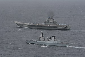 Russian aircraft carrier Admiral Kuznetsov - With HMS ''Dragon'' off the UK in May 2014