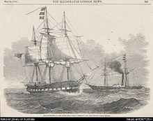 Incisione di HMS Herald dal London Illustrated News con il piroscafo Torch in background