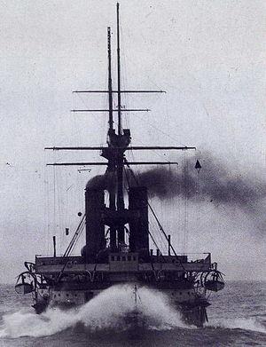 HMS Resolution (1892) - Image: HMS Resolution (1892) bows on 1897 1898