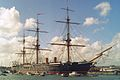 HMS Warrior armoured frigate 9,137 tons, Royal Navy (first armour-plated, iron-hulled warship.) (11685415156).jpg