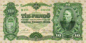 Hungarian pengő - 10 pengő, 1929
