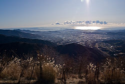 Panorama view of Hadano and Sagami Bay from Mount Kunugi