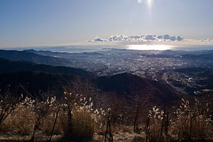 Hadano, Kanagawa - Panorama view of Hadano and Sagami Bay from Mount Kunugi