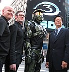 Actor dressed as Master Chief at Nasdaq