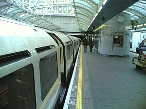 Hammersmith tube station (Piccadilly and District lines) - A westbound Piccadilly line train