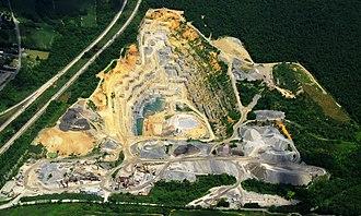 Crushed stone - Crushed limestone quarry near Bellefonte, Pennsylvania.