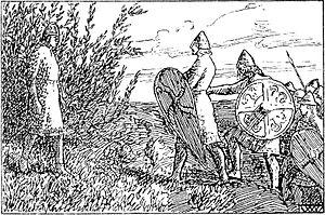 Eystein II of Norway - The capture of king Eystein, as imagined by artist Wilhelm Wetlesen in the 1899 edition of Heimskringla.