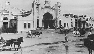 Chinese Eastern Railway - 1915-1925 CER flag at Harbin railway station