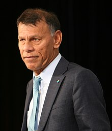 Hassan Yussuff at the Ontario Federation of Labour Convention in 2017