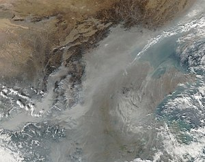 Lüliang Mountains - Image: Haze over China