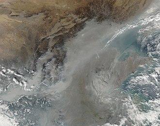 Lüliang Mountains - Image: Haze over China