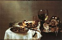 Willem Claeszoon Heda , Breakfast Table with Blackberry Pie (1631