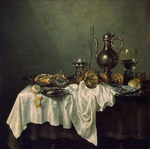 Dutch art - Willem Claeszoon Heda. Breakfast with a Lobster (seventeenth century).