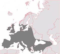 Bluszcz pospolity: zasięg występowania na mapie