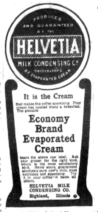 Pet, Inc. - Helvetia milk ad from 1903.
