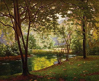Henri Biva - Henri Biva, Bord de rivière ensoleillé, signed Henri Biva (lower left), oil on canvas, 53.3 by 59.7 cm