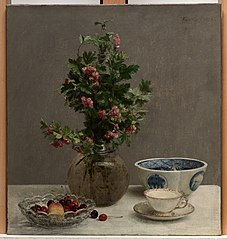 Still Life with Vase of Hawthorn, Bowl of Cherries, Japanese Bowl, and Cup and Sauce