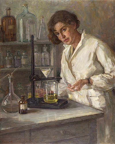 An oil painting of a chemist (Ana Kansky, painted by Henrika Šantel in 1932)
