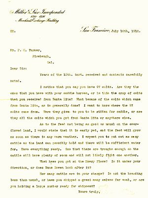Henry Miller (rancher) - Correspondence between Henry Miller and his superintendent Turner
