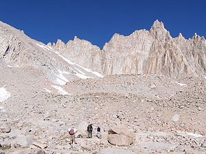 Mount Whitney Trail - The start of the switchbacks near Trail Camp.  Mount Muir is in the background