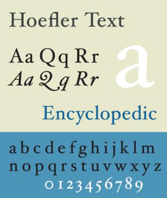 Jonathan Hoefler - Hoefler Text, a serif typeface designed by Hoefler in 1991.