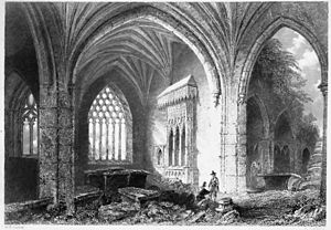 Holy Cross Abbey - The ruined interior, 1841