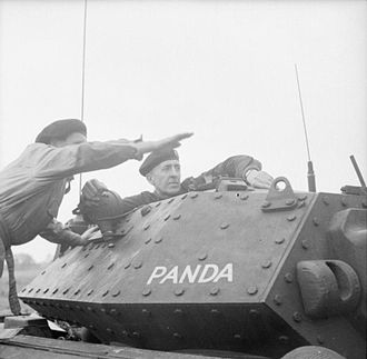 Brian Horrocks - Major General Brian Horrocks, then General Officer Commanding (GOC) 9th Armoured Division, in his Covenanter command tank during an exercise, 18 July 1942.