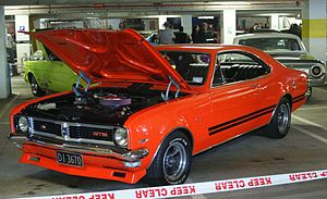 Performance car - Holden Monaro with aftermarket performance enhancements, shown at a NZHRA show