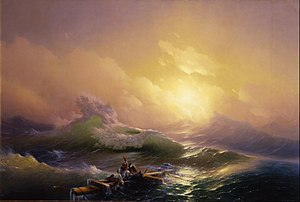 Shipwrecking - Ivan Aivazovsky's The Ninth Wave painting shows a handful of survivors clinging to the mast of a sunken ship.