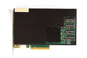 Heat sink - A server grade flash memory card with a black heat sink.