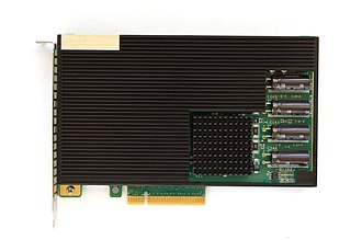 Heat sink - A server grade flash memory card with a black heat sink.